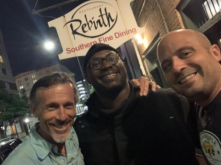 Robbie, Jerius, Justin outside Rebirth